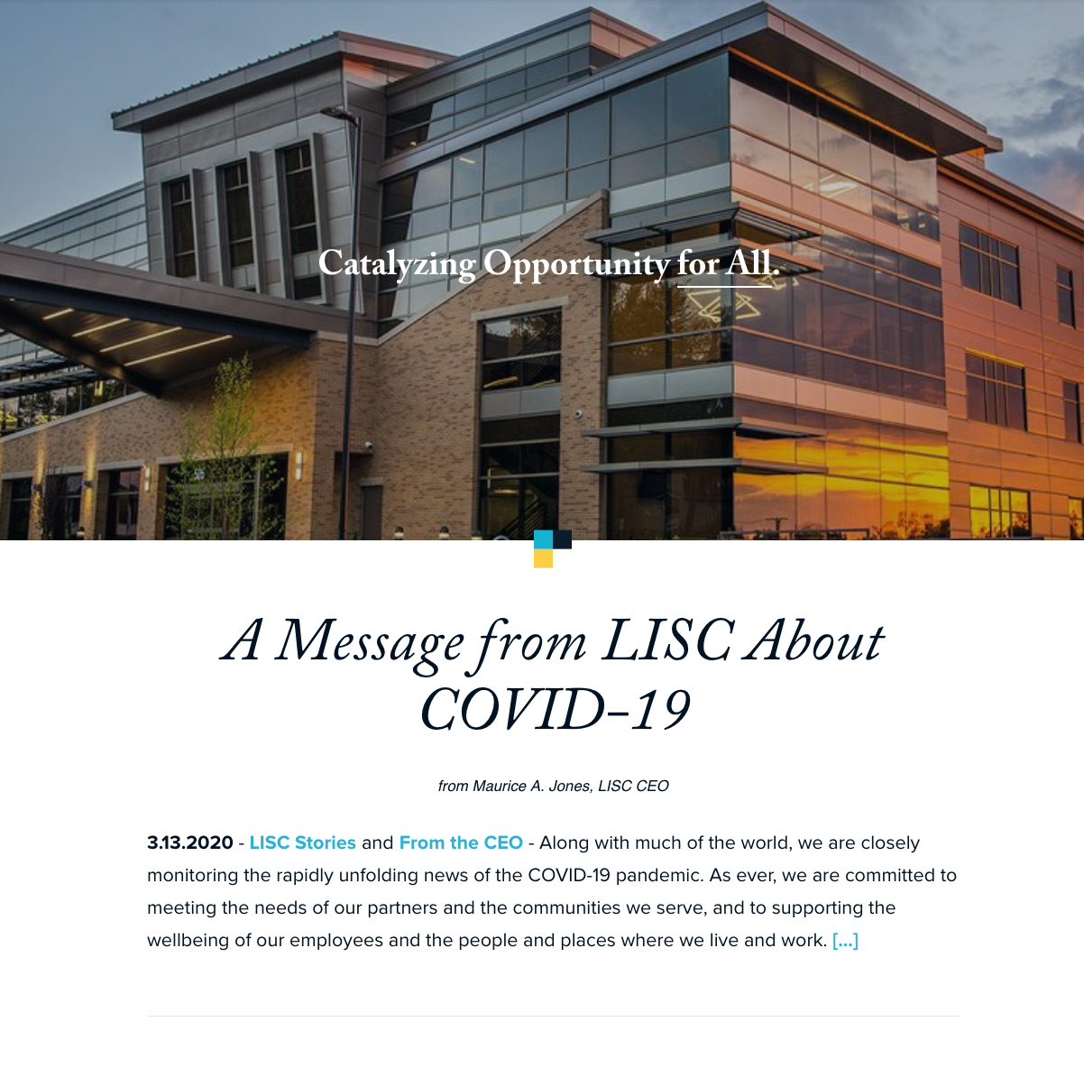 A message from LISC CEO Maurice Jones