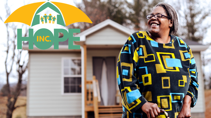Thanks to HOPE, Lynne Bouknight, a resident of Elk Creek in Grayson County, Va., was able to replace her old home, which was literally falling down around her, with a new, energy efficient home.