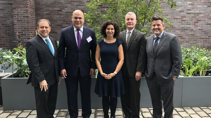 Andy Frishkoff, LISC Philly executive director, at the September 24th announcement of the PRO Neighborhoods award with, Dan Betancourt of Community First Fund, Janis Bowdler of JPMC Foundation, Luis Mora of FINANTA, and Casey O'Donnell of Impact Services.