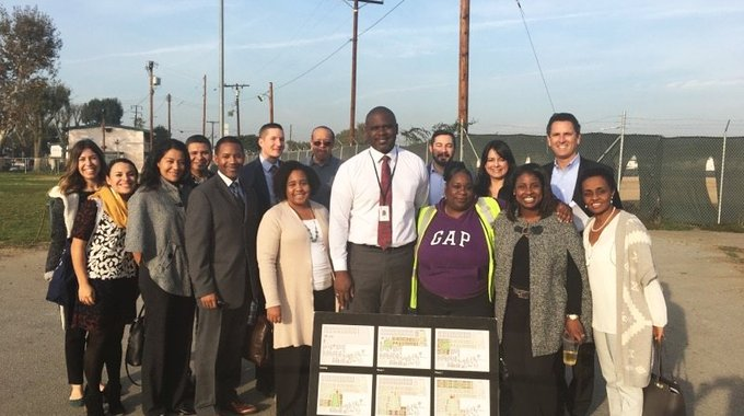 LA LISC staff and LAC members are on the ground visiting the Jordan Downs Housing Project to hear from the Housing Authority of Los Angeles, developers, and community members.