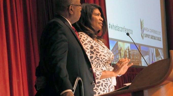 Donsia Strong Hill, LISC Milwaukee Executive Director, announced the new partnership with Wyman Winston, WHEDA Executive Director, at WHEDA's statewide conference on Tuesday, September 12th, 2017