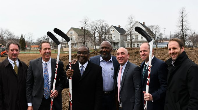 LISC and partners at the groundbreaking of Perkins Park on Buffalo's East Side