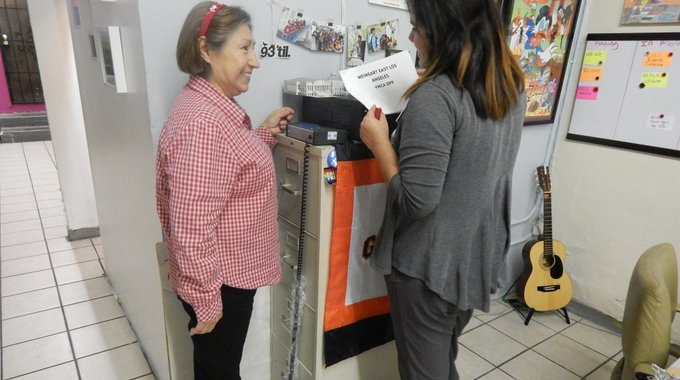 Weekly weigh-ins are just one facet of self-monitoring for participants in the Diabetes Prevention Program. (Photo by Jennifer Lopez; Courtesy Boyle Heights Beat)