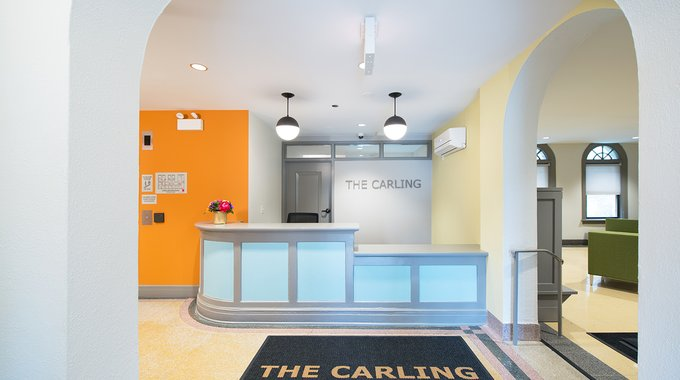The lobby of the remodeled Carling Hotel