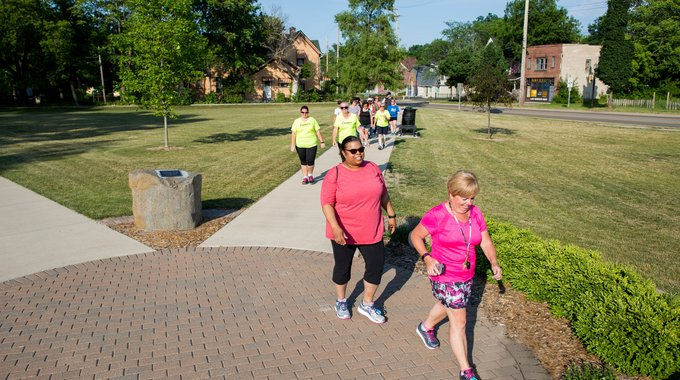 "New walkways and green space along the University Avenue corridor have replaced vacant lots and cracked asphalt, and make a pleasant, safe place for walkers and runners to train for Flint's annual ""Crim"" race."