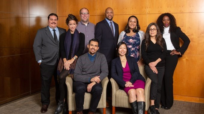 2019 class of Rubinger fellows, including three serving rural America: Javier Zapata-Rodriguez (standing, left), Lahela Williams (third from right), and Juanita Woods (standing, right).