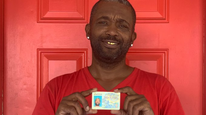 First 72+ client Greg shows off his Provisional Driver's License. Access to a license is critical for landing jobs and building stability.