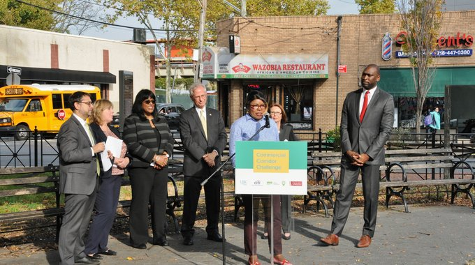 Speakers at the Corridor Challenge event were (from left to right): LISC NYC Executive Director Sam Marks, Staten Island Chamber of Commerce President & CEO Linda Baran, NYC Councilwoman Debi Rose, Staten Island Deputy Borough President Edward Burke, Owner of Wazobia Restaurant Lara Olubunmi, Citi Community Development New York Tri-State Director Eileen Auld, and NYC SBS Commissioner Gregg Bishop.  Photo by Steve White.