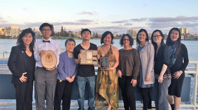 Margaret's family, this year's award winner Angela Louie Howard, last year's recipient Cindy Wu from Chinatown Community Development Center (SF), and Bay Area LISC Staff at the Lotus Bloom 10th Anniversary Celebration.