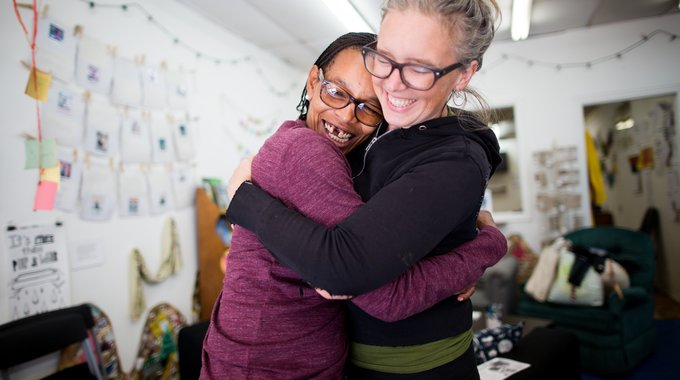 Courtney Bowles and Faith Bartley, artists from The People's Paper Co-op in Philadelphia, a creative social enterprise at The Village of Arts and Humanities that helps neighborhood residents clean up their criminal records