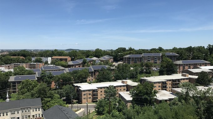 Brand new solar panels on the Oxford Manor housing community in Washington D.C.
