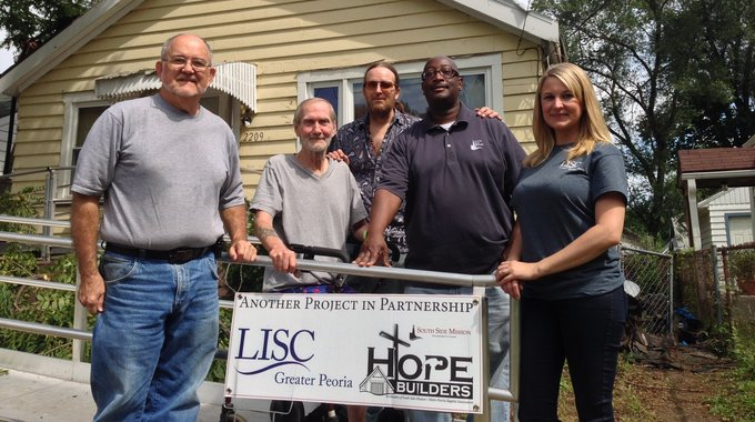 A LISC partnership with South Side Mission 'Hope Builders' program to repair roofs on the South Side.