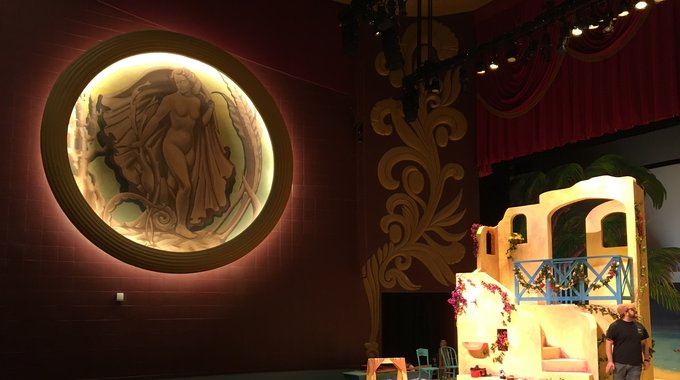 A glimpse of a stage set and the historic design elements of the newly refurbished NorShor Theatre in Duluth.